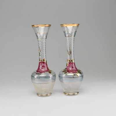 Enesco Hand-Painted Rose Mofit Crystal Bud Vases