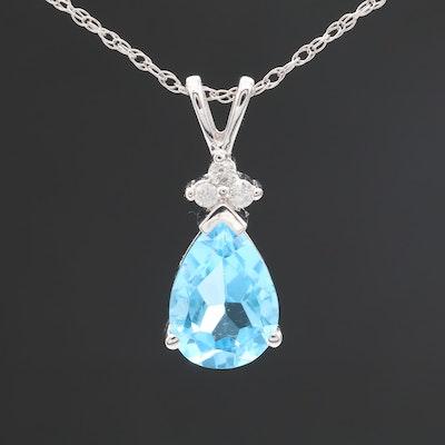 14K White Gold Diamond and Blue Topaz Pendant Necklace