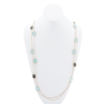 Gold Wash Sterling Silver, Labradorite, and Chalcedony Necklaces