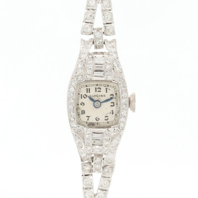 Vintage Glycine Platinum and 2.53 CTW Diamond Stem Wind Wristwatch