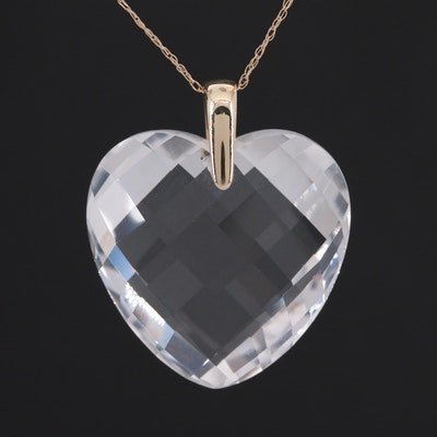 10K Yellow Gold Aquamarine Heart Pendant Necklace