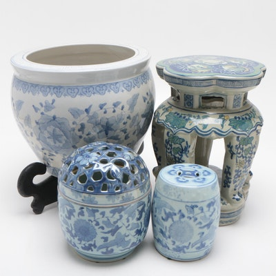 Chinese Blue and White Ceramic Planter, Ceramic Garden Seat, and More
