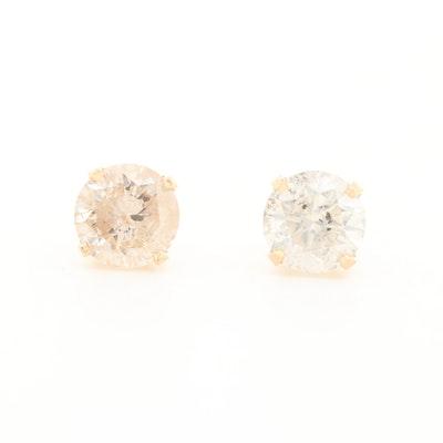 14K Yellow Gold 0.99 CTW Diamond Stud Earrings