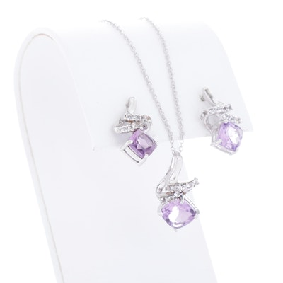 Sterling Silver, Amethyst, and White Topaz Necklace and Earrings