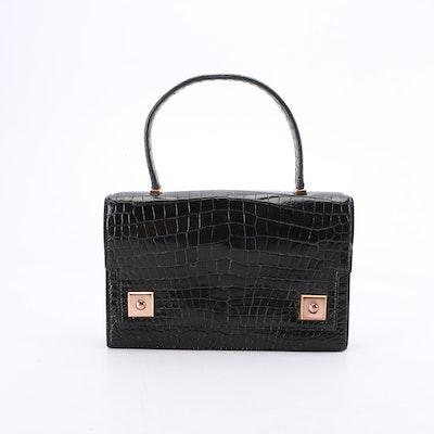 Hermès Black Crocodile Skin Piano Flap Handbag, 1960s Vintage