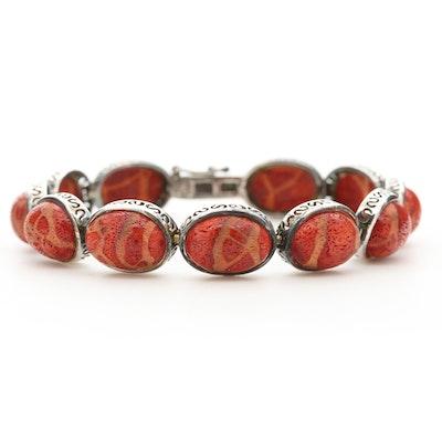Sterling Silver Coral Line Bracelet