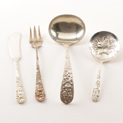 """Kirk-Stieff Sterling Silver """"Stieff Rose"""" and """"Repousse"""" Flatware"""
