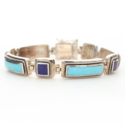 Southwestern Style Sterling Silver Turquoise and Lapis Lazuli Line Bracelet