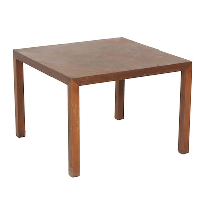 Parquet Top Accent Table and Caned Seat Side Chair