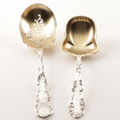 American Sterling Silver Serving Spoons by Towle and Wallace, Circa 1890