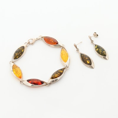 Polish Sterling Silver Amber Link Bracelet with Matching Drop Earrings