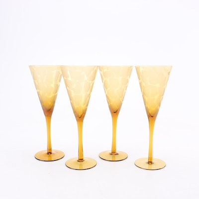 Amber Frosted Glass Stemware