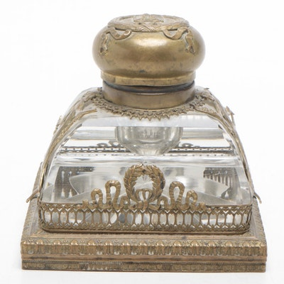 Art Nouveau Neoclassical Style Brass and Cut Glass Inkwell, Late 19th Century