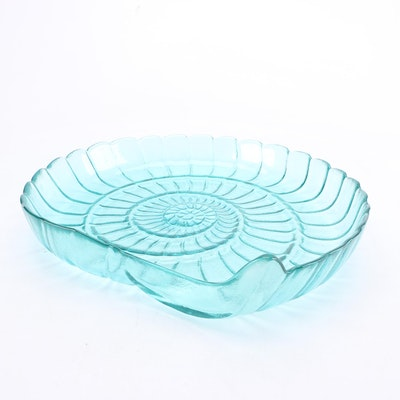 Nautical Themed Teal Glass Serving Tray