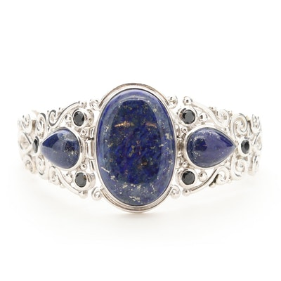 Sterling Silver Openwork Lapis Lazuli Bracelet with Black Onyx Accents