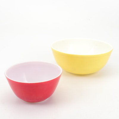"Pyrex Red and Yellow ""Primary Colors"" Mixing Bowls"
