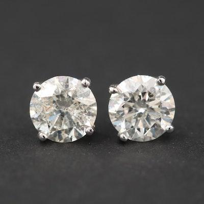 14K White Gold 1.35 CTW Diamond Stud Earrings