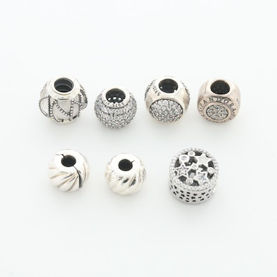 Seven Pandora Sterling Silver Cubic Zirconia, Glass and Enamel Beads