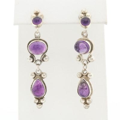 Sterling Silver Amethyst Drop Style Earrings