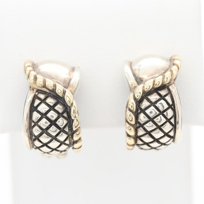 Nancy & David Sterling Silver Earrings with 14K Yellow Gold Accents