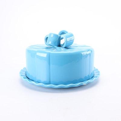 Portuguese Destinos Blue Ceramic Lidded Cake Plate