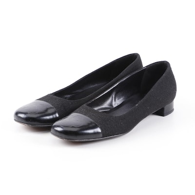 Chanel Camellia Cap Toe Leather and Felted Wool Ballet Flats