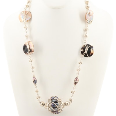 Sterling Necklace with Cultured Pearl, Mabé Cultured Pearl and Mother of Pearl