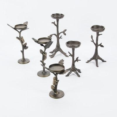 Cast Metal Pillar Candleholders with Tree Motif