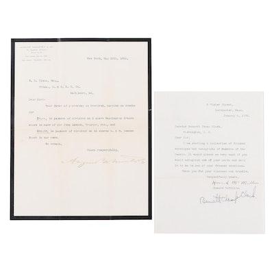Senator Bennett Champ Clarke and August Belmont of Belmont Stakes Signed Letters