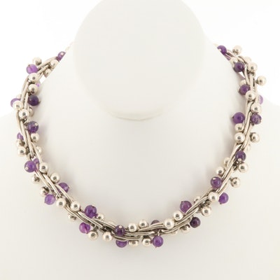 Sterling Silver Amethyst Ball and Bar Necklace