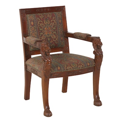 Renaissance Revival Style Mahogany Chair, Mid to Late 20th Century