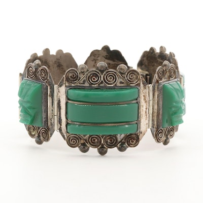 Mexican Sterling Silver Glass Panel Bracelet