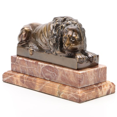 Bronze Patinated Brass and Stone Recumbent Lion Bookend after Canova