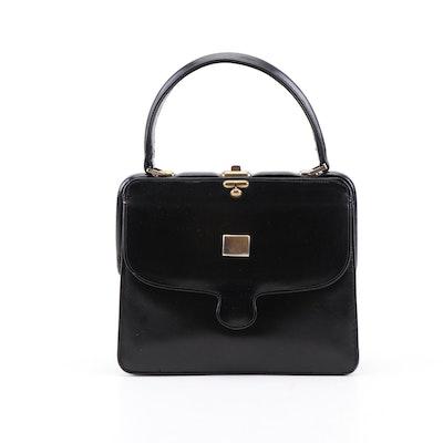 Gucci Black Leather Top Handle Bag, 1950s Vintage