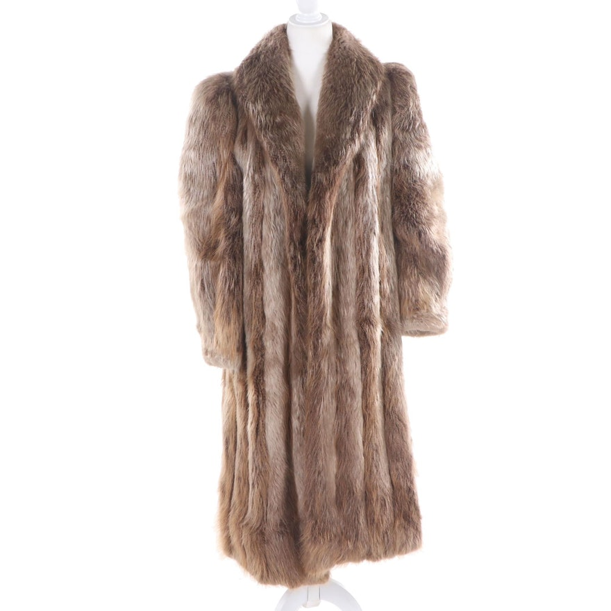 Nutria Fur Coat with Shawl Collar, Vintage
