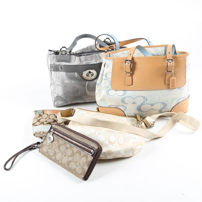 Coach Shoulder Bags and Wallet in Signature Satin Jacquard with Leather Trim