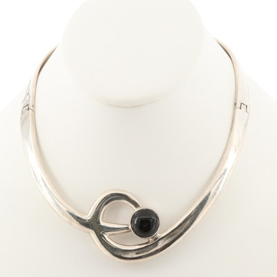 Alicia Mexican 950 Silver Obsidian Hinged Collar Necklace