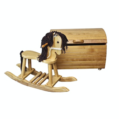 Wooden Rocking Horse and Toy Chest