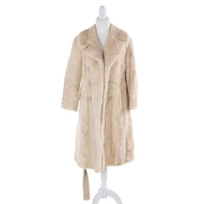 Paw Mink Fur Double-Breasted Coat from Grauer New York, Vintage