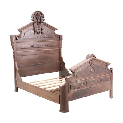 Victorian Walnut and Burlwood Queen Bed Frame, Late 19th Century