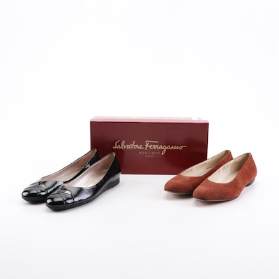Salvatore Ferragamo Black Patent Leather and Cognac Suede Melania Flats