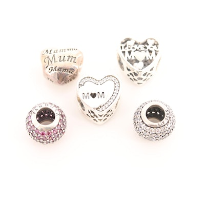 Five Pandora Sterling Silver Cubic Zirconia and Enamel Charm Beads