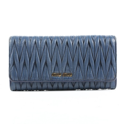 Miu Miu Matelassé Continental Wallet in Navy Blue Leather