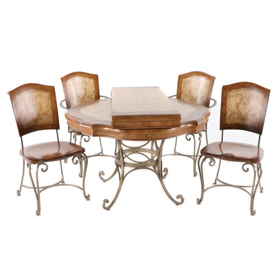 Contemporary Wood Finish Decorative Motif and Scrollwork Dining Table and Chairs