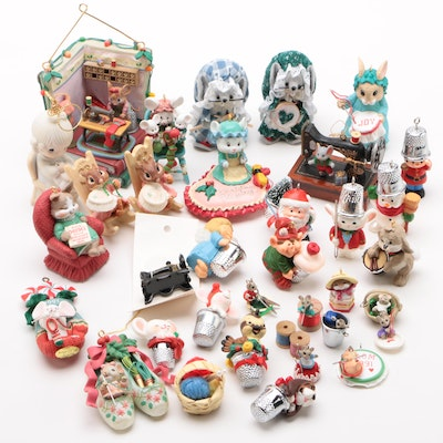Sewing and Needle Craft Themed Ornaments Including Hallmark, Late 20th Century