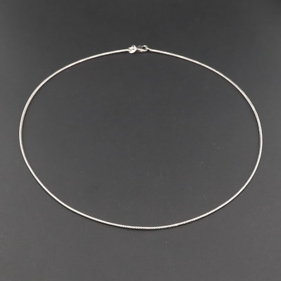Sterling Silver Round Omega Link Necklace