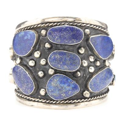 Turkmen Cuff with Freeform Lapis Lazuli Gemstones