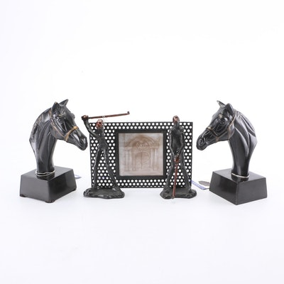 Havertys Bronze Tone Metal Horse Bookends and Other Office Decor