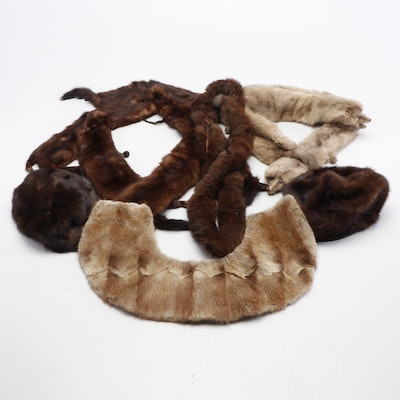 Mink, Muskrat, Sable and Dyed Marten Fur Hats, Stoles and Collars, Vintage
