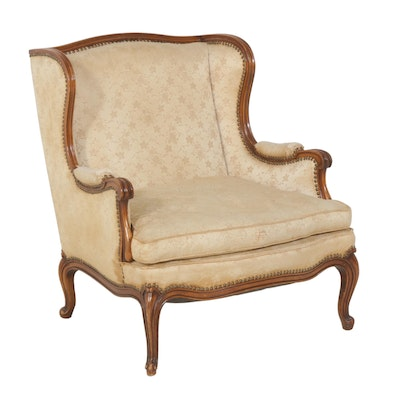Brocade Upholstered Arm Chair With Down Filled Cushion, Mid Century